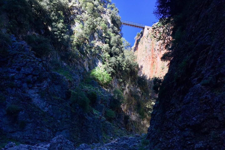Die Aradena Brücke von unten