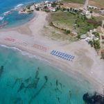 Luftaufnahme des Strandes von Frangokastello