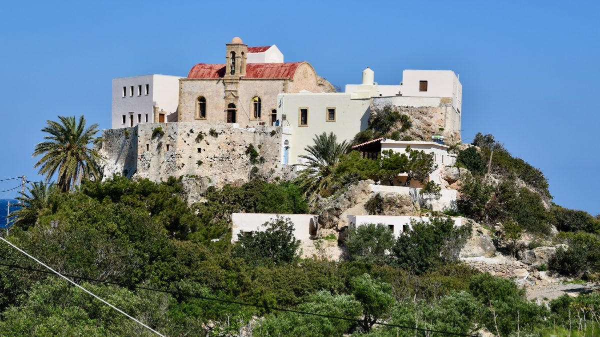 Chrysoskalitissa Kloster aus der Ferne.