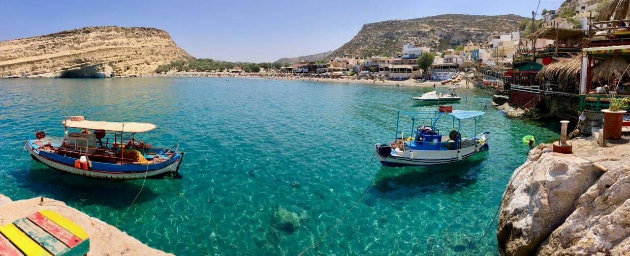 Fischerboot ankern in Matala